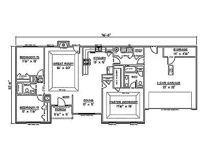 House Plans For 1660 Sq  Ft  3 Bedroom House