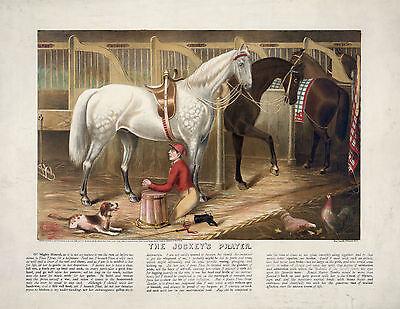 1868 Horse Racing, Jockey, Dog Chicken, antique decor, STABLE, 20
