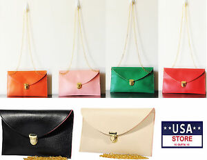 NEW-Fashion-Women-Clutch-Shoulder-Handbag-Gold-Chain-PU-Leather-Bag-Purse
