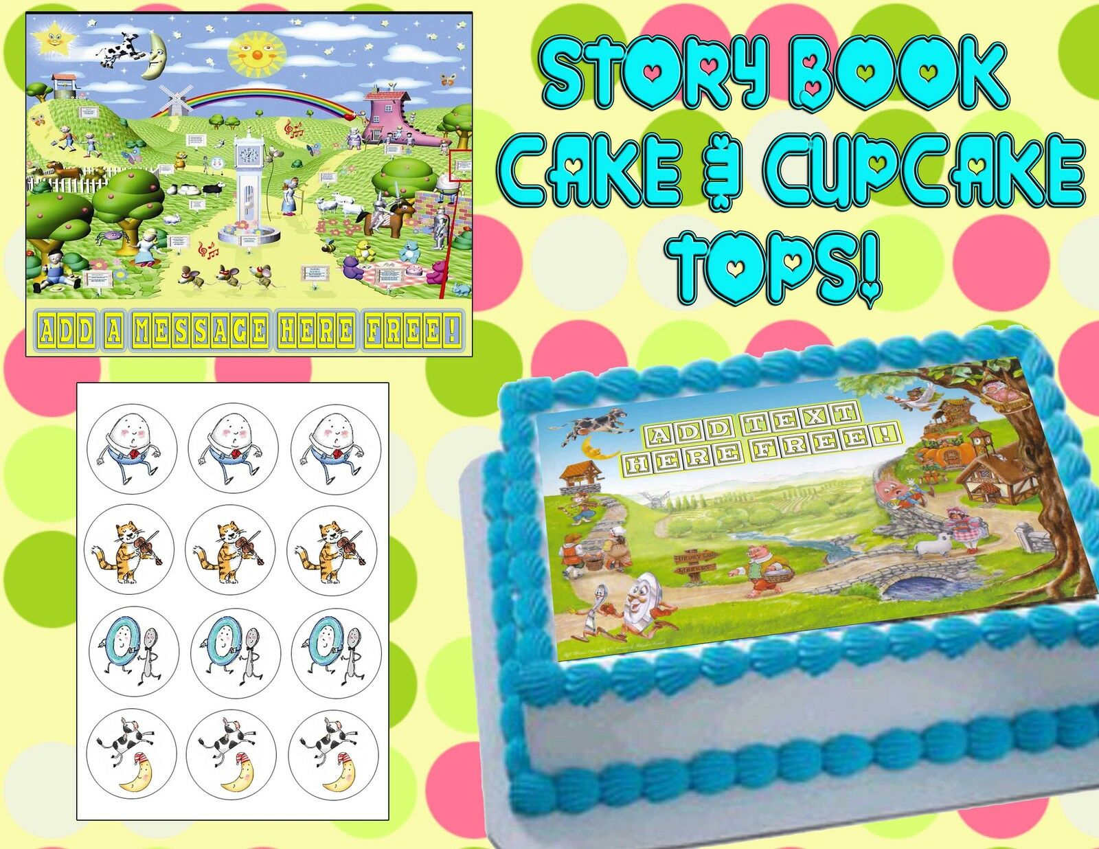 Nursery Rhyme Edible Cake Topper Cupcakes Birthday Baby Shower Tops Story Book