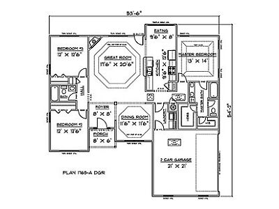 Concern Plans for 1765 Sq. Ft. 3 Bedroom House w/Garage