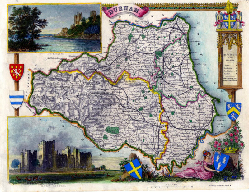 c.1840 Genuine Antique hand colored map of Duram, England. Moule
