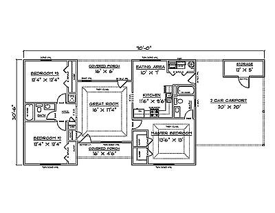 House Plans For 1340 Sq  Ft  3 Bedroom House W Carport