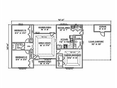 House Plans for 1340 Sq. Ft. 3 Bedroom House w/Carport