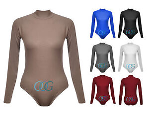 Womens-Ladies-Polo-Turtle-Neck-Long-Sleeve-Bodysuit-Leotard-Body-Top-8-10-12-14