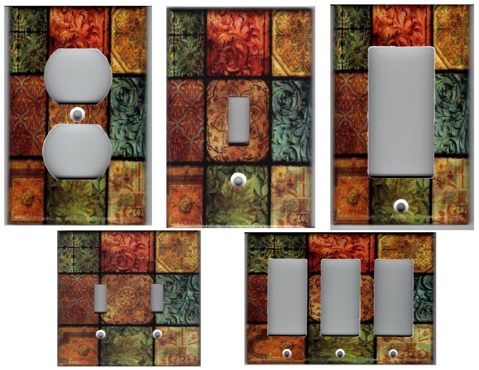 Tuscan Mosaic Tile Print - Tuscany Home Decor Light Switch Plate