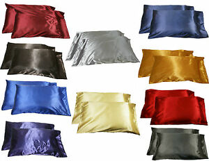 2pc-New-Queen-Standard-Silk-y-Satin-Pillow-Case-Multiple-Colors