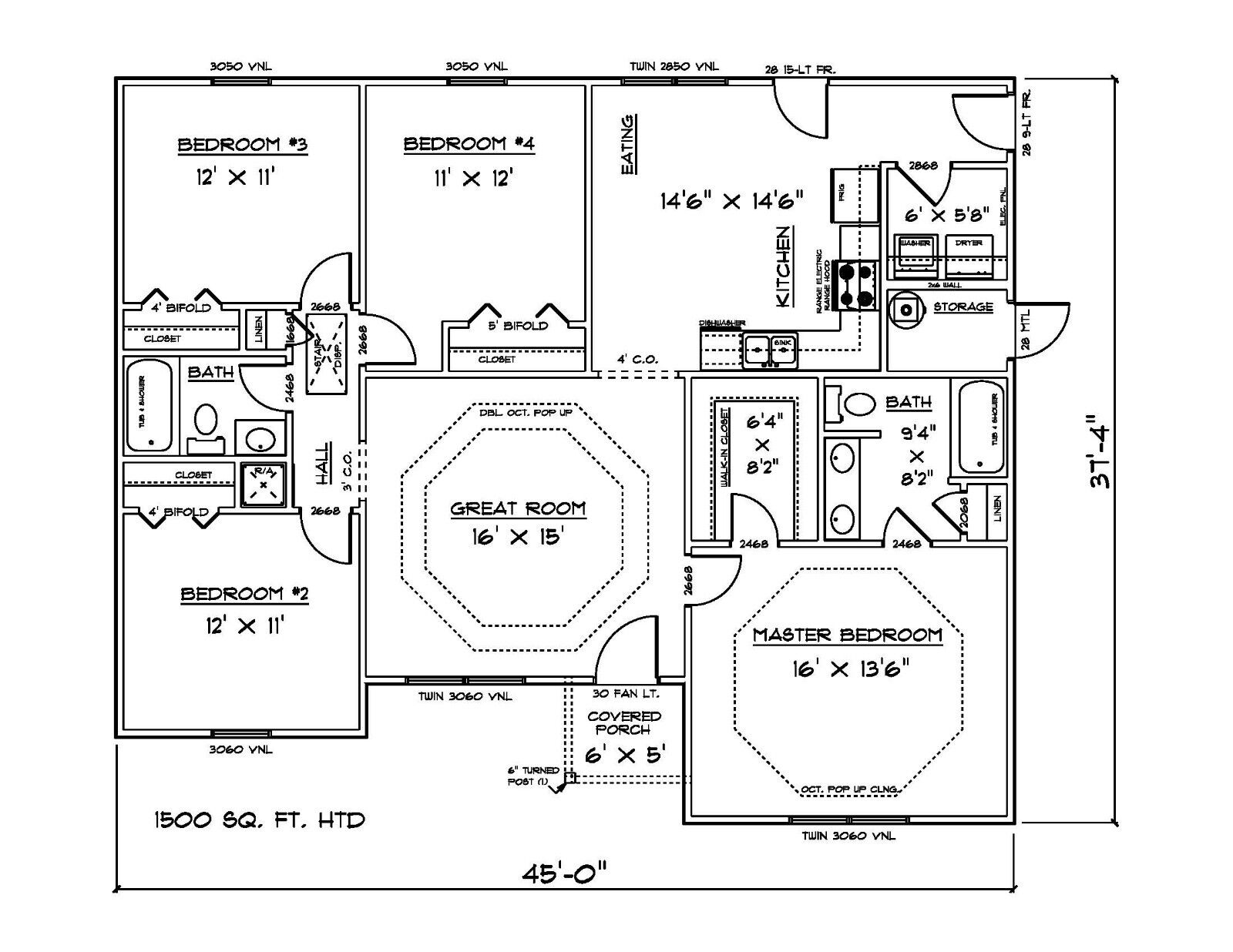 house plans for 1500 sq  ft  4 bedroom house