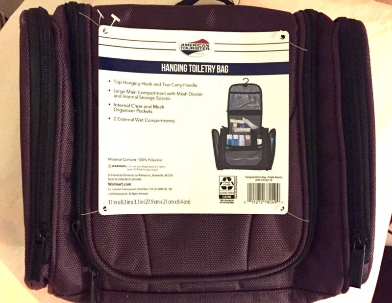 American Tourister Hanging Travel Toiletry Bag Purple Organizer Essentials NEW