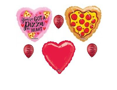 Pizza My Heart Valentine's Day Balloon Bouquet Party Balloons Decoration Supply - Pizza Bouquet