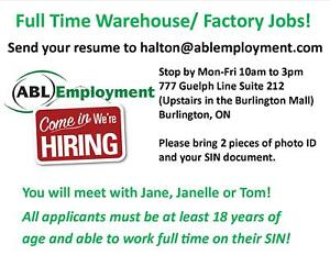 WALK IN FOR A GENERAL LABOUR JOB - EARN $$ BEFORE THE HOLIDAYS!