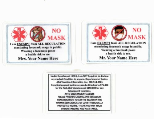 Facemask Mask Laminated Card and Certificate  - YES, THE ONE YOU ARE LOOKING FOR