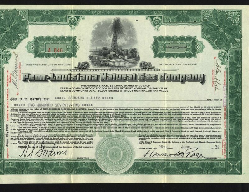 PENN-LOUISIANA NATURAL GAS CO., 1932, ISSUED AND UNCANCELLED