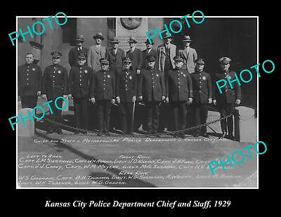 OLD POSTCARD SIZE PHOTO OF KANSAS CITY POLICE DEPARTMENT CHIEF & STAFF 1929