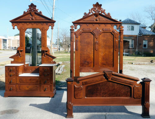 Beautiful~~Walnut Victorian Bedroom Set~~Full Bed and Dresser
