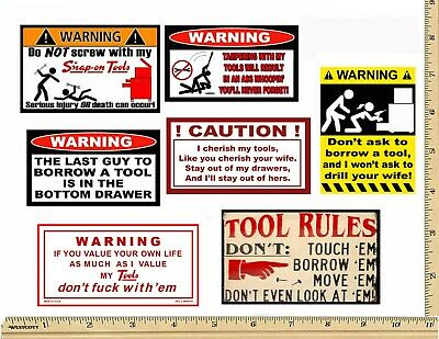 - Funny Warning Stickers - Complete set of 7 Decals - Sexy Girl Tool Box MADE USA