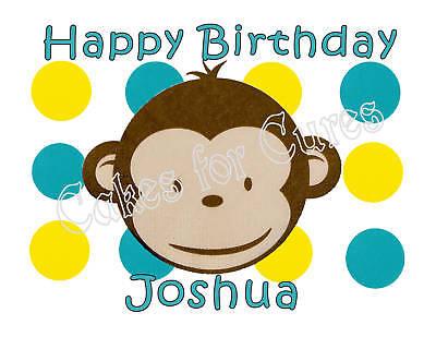 Monkey Cake Decorations (Mod Monkey edible cake image cake topper party)