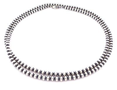 "36"" Navajo Pearls Sterling Silver 5mm Beads Necklace"