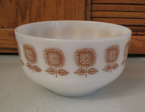 "Federal Glass Brown Sunflower Square Flower Mixing Serving Bowl 8"" Heatproof USA"
