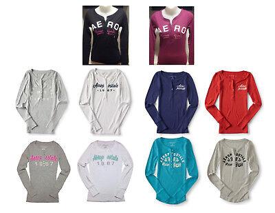 Teal Womens Long Sleeve - NWT Aeropostale Womens Long Sleeve Henley Shirt, Black, Gray, Pink, Teal