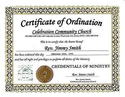 Ordain Easily And Immediately Become An Ordained Minister Ordination Certificate