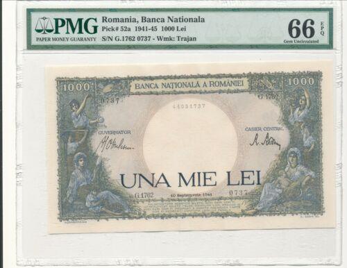 WWII Romania Banknote Pick 52a 1941-45 1000 Lei PMG 66 EPQ
