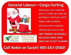 GREAT SUPPLEMENTAL INCOME! PART TIME GENERAL LABOUR JOB!