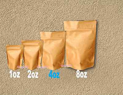 25 -8oz Kraft Stand Up Pouch Bags Food Safe Resealable Bags Food Packaging