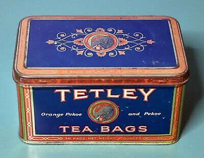 Vintage Tetley Tea Advertising Tin - Large Size Elephant Logo - Orange Pekoe