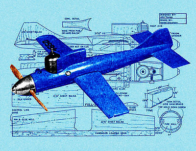 Build a 1953 vintage 1/2A Speed plane 73-40 Full Size Printed Plan and Article