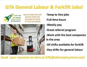 HEAVY LIFTING GENERAL LABOUR JOBS IN THE GTA!