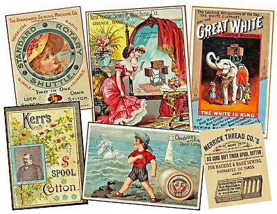 SEWING, VICTORIAN ERA ADVERTISING CARD Stickers, 1 Sheet, 6 Collage Journal Tags Art Collage Sheet