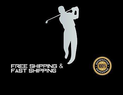 Golfer Sticker (GOLF, Golfer, Car Decal, Sticker, Vinyl, SILVER)