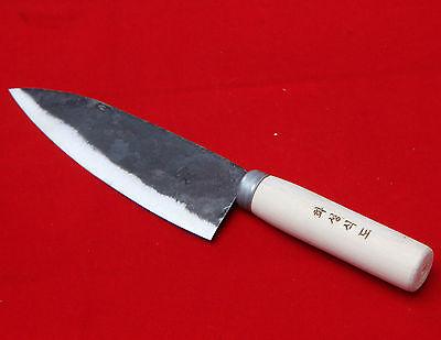Rail Cast Iron Forged Knife Sashimi Deba Chef Kitchen Hand Made Korea 16cm Blade