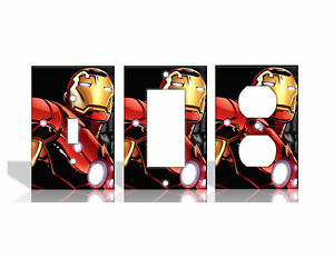 Iron Man Marvel Avengers Comic Book Light Switch Covers