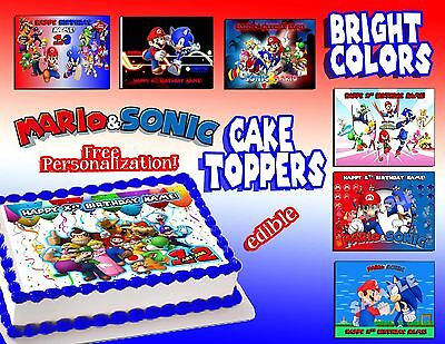 Mario and sonic Birthday Cake topper Edible picture sugar sheet icing decal  (Sonic Cake)