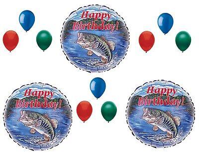 Bass Fish Fishing Birthday Party Balloons Decoration Supplies Camping 12 pcs](Fish Balloons)