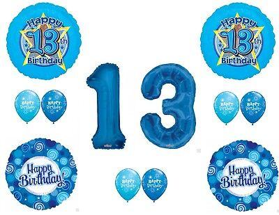 Blue 13TH THIRTEENTH Teenager Boy Happy Birthday Balloons Decoration Supplies