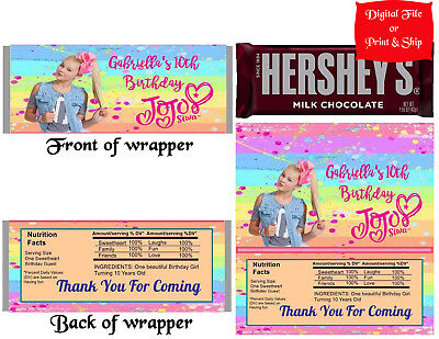 20 Personalized JoJo SIWA Printed Candy Bar Wrapper Favor w/Foil or Digital File