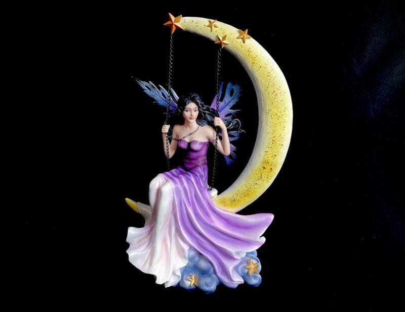 "13"" Purple Fairy Swinging on Moon Statue Figurine Figure Fantasy Home Decor"