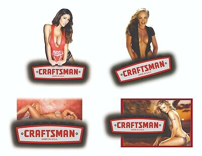 CRAFTSMAN TOOLS STICKER SET of 4 GLOSSY DECALS TOOL BOX SEXY PINUP GIRLS USA