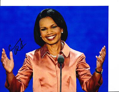 Secretary Of State Condolezza Rice Signed Blue Background 8X10