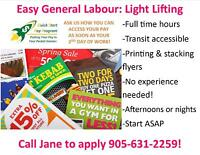 EASY LIGHT LIFTING JOB! AFTERNOONS OR NIGHTS! START ASAP!