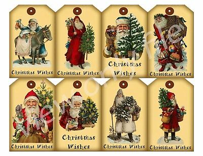 8 Christmas Vintage Old World Santa Hang Tags Scrapbooking Paper Crafts (123)