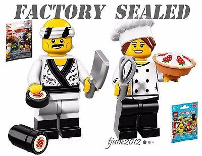 NEW LEGO Ninjago Movie Minifigures Sushi Chef 71019 & 71018 Gourmet Chef LOT