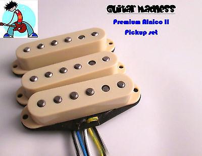 G.M. Premium Alnico II's Cream Strat Stratocaster Single Coil Set For Fender