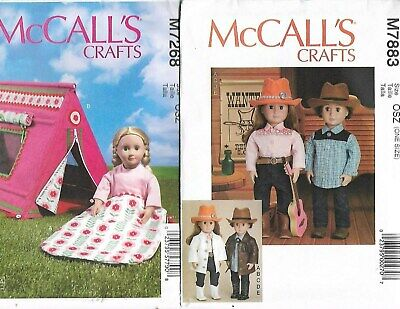 18-Inch Doll Clothes Top Hat Tent Sleeping Bag Sewing Pattern 7883 & 7268 New #z