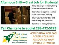 PART TIME AFTERNOON SHIFT IN BARRIE! GENERAL LABOUR!