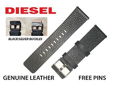 GENUINE DIESEL Watch Strap Band BLACK/ BROWN 24mm 26mm 28mm BLACK/SILVER BUCKLE