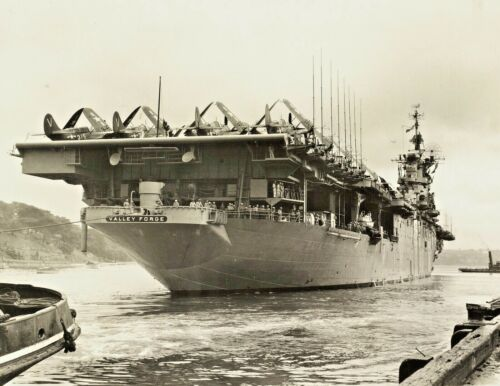 1948-USS Valley Forge-Essex-Class Aircraft Carrier at Sydney Harbour-PHOTO